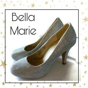 Bella Marie Women's Silver Glitter Heels 6